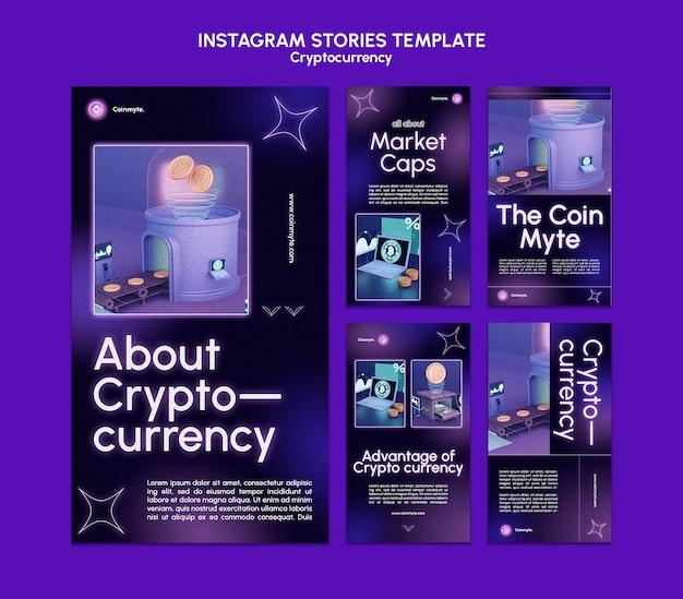 Modèle de conception de crypto-monnaie d'histoires insta