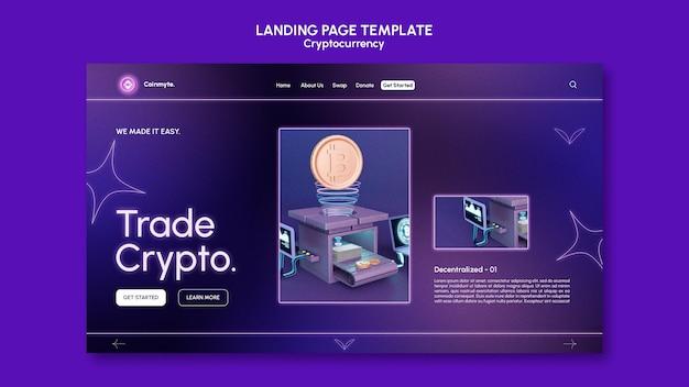 Modèle de conception de crypto-monnaie de page de destination