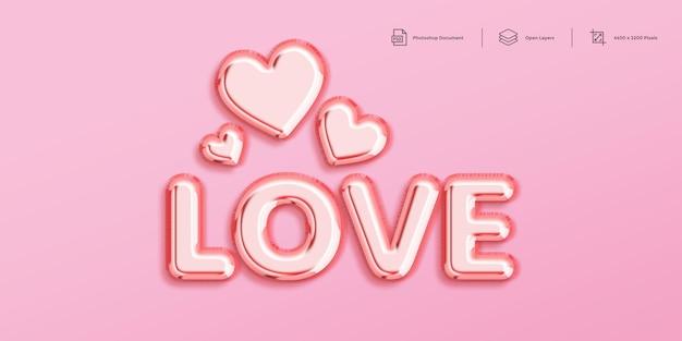 Modèle de conception d'effet de texte d'amour