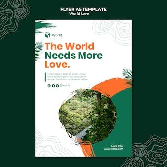 Modèle de conception de flyer d'amour du monde