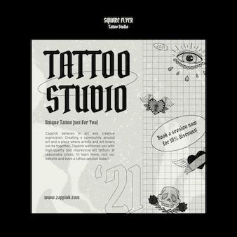 Modèle de conception de flyer carré studio de tatouage
