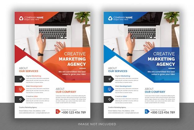 Modèle de conception de flyer et de couverture de brochure pour agence de marketing numérique d'entreprise