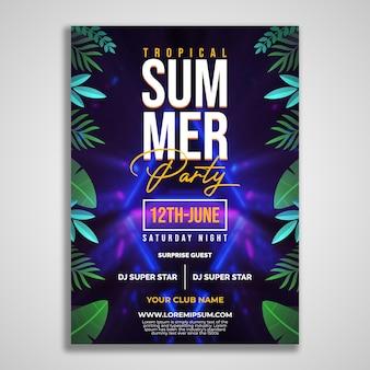 Modèle de conception de flyer de fête d'été tropicale