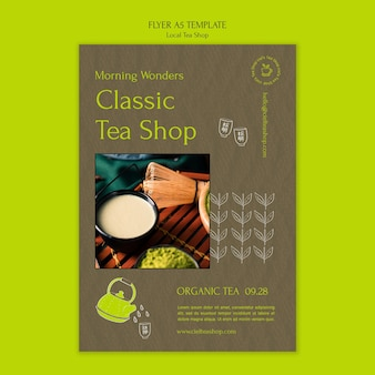 Modèle de conception de flyer de magasin de thé local