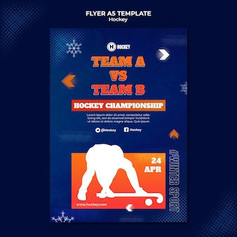 Modèle de conception de flyer de sport de hockey