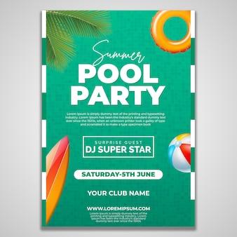 Modèle de conception de flyer summer pool party