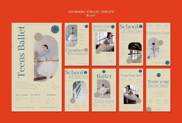 Modèle de conception d'histoire de ballet insta