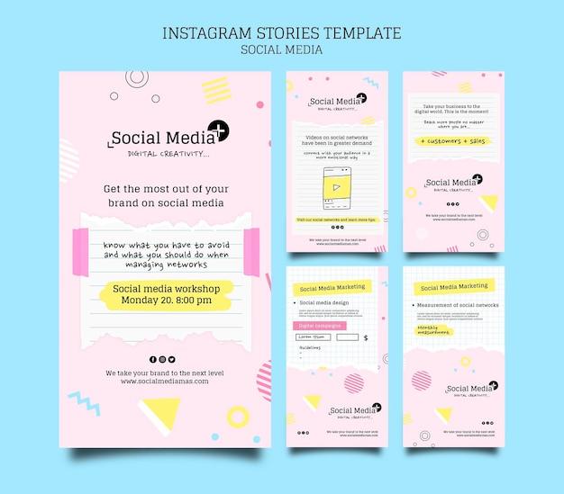 Modèle de conception d'histoire insta d'agence de marketing de médias sociaux
