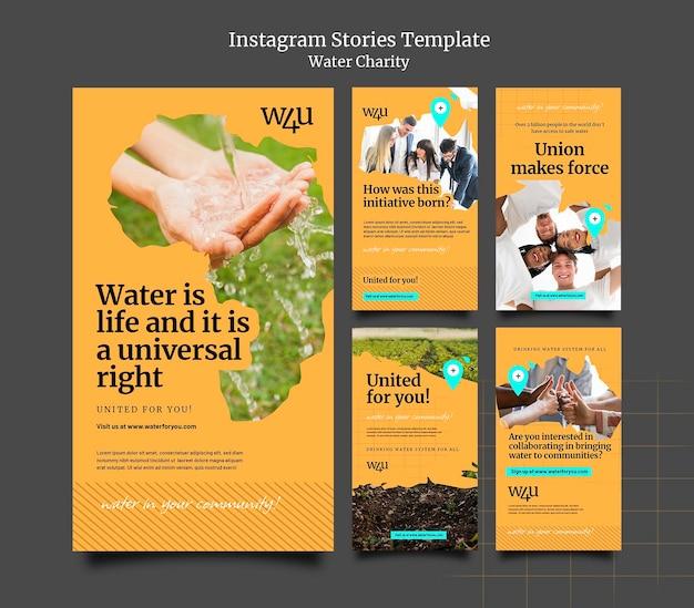 Modèle de conception d'histoire insta de charité de l'eau