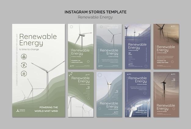 Modèle de conception d'histoire insta d'énergie renouvelable