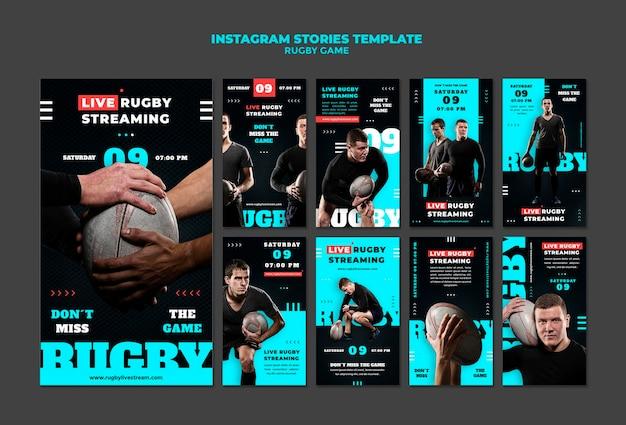 Modèle de conception d'histoire insta de jeu de rugby
