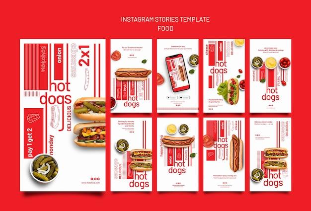 Modèle de conception d'histoire insta de modèle de nourriture