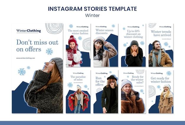 Modèle de conception d'histoire insta de vente d'hiver
