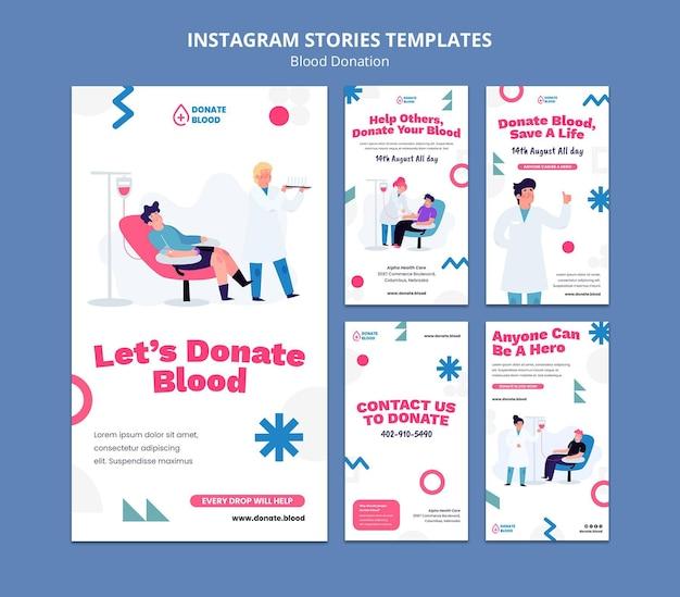 Modèle de conception d'histoire instagram de don de sang