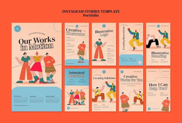 Modèle de conception d'histoire de portfolio insta
