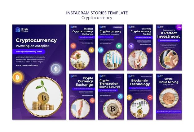 Modèle de conception d'histoires insta de crypto-monnaie