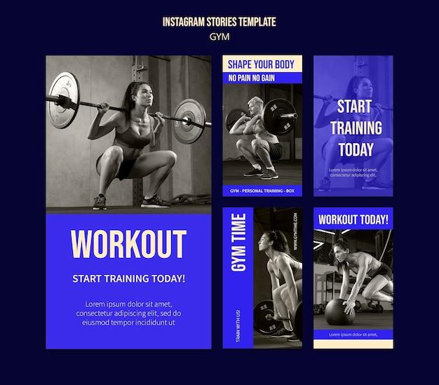 Modèle de conception d'histoires insta de gym