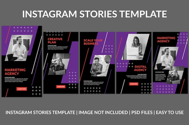 Modèle de conception d'histoires instagram d'agence créative