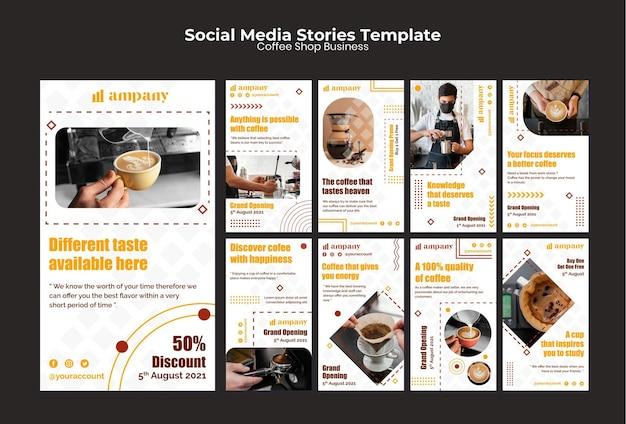 Modèle de conception d'histoires instagram d'entreprise de café