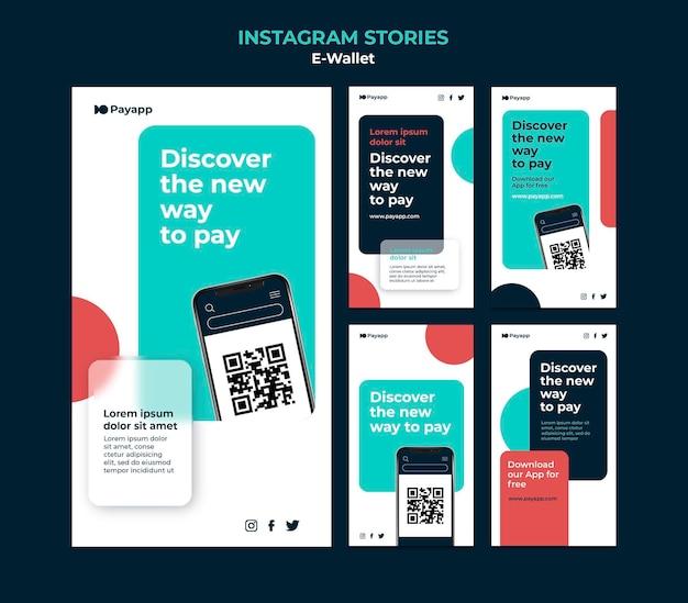 Modèle de conception d'histoires instagram ewallet