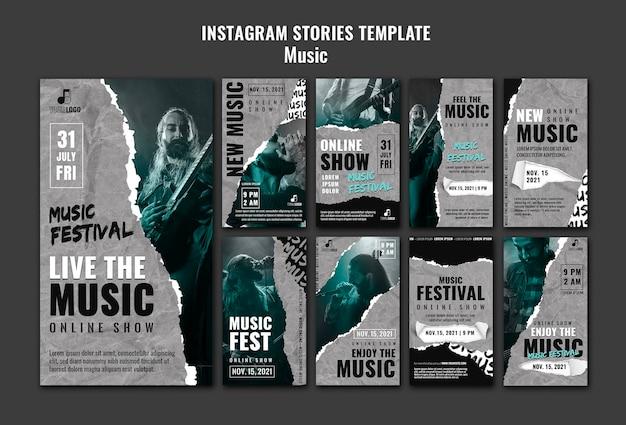 Modèle de conception d'histoires instagram de musique