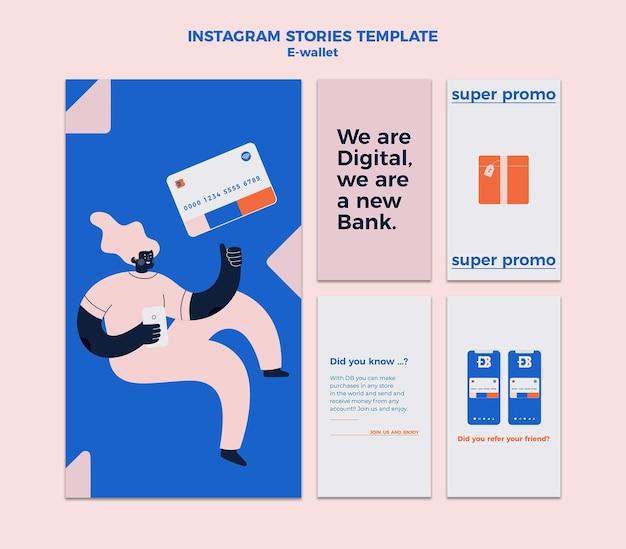 Modèle de conception d'histoires instagram de portefeuille électronique