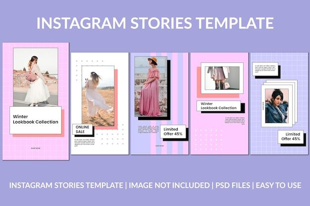 Modèle de conception d'histoires instagram pourpre rose de mode