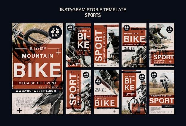 Modèle de conception d'histoires instagram de sport de vélo