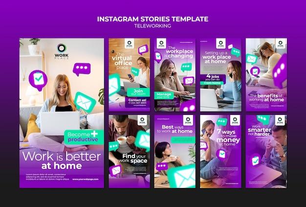 Modèle de conception d'histoires instagram de télétravail