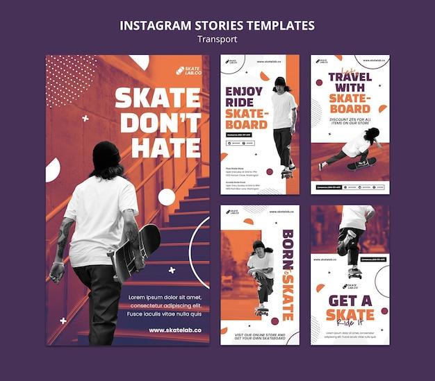 Modèle de conception d'histoires instagram de transport de skate