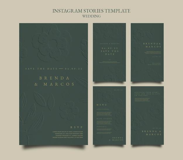 Modèle de conception d'histoires de mariage instagram