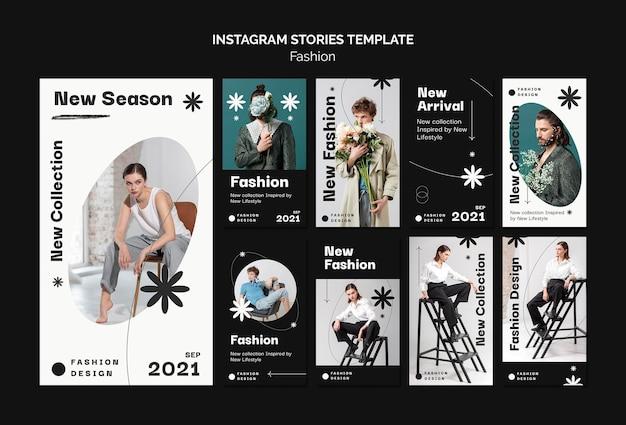 Modèle de conception d'histoires de mode instagram