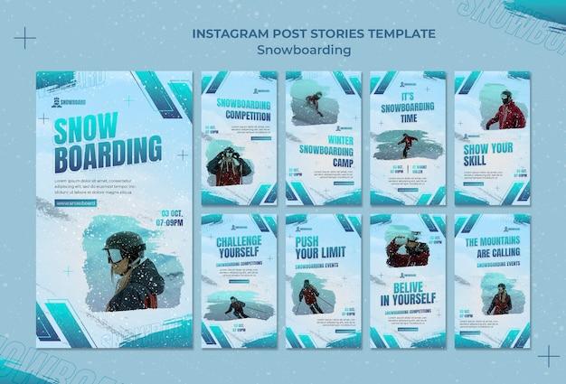 Modèle de conception d'histoires de snowboard ig