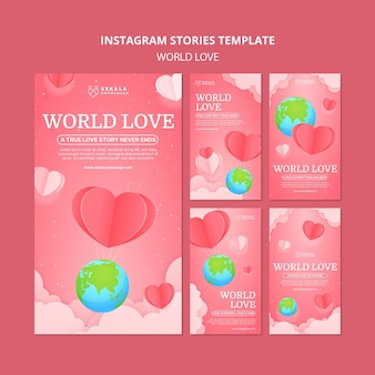 Modèle de conception instagram d'amour du monde