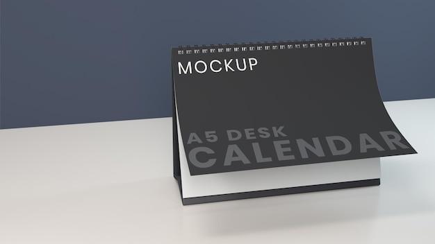 Modèle de conception de maquette de calendrier de bureau horizontal réaliste