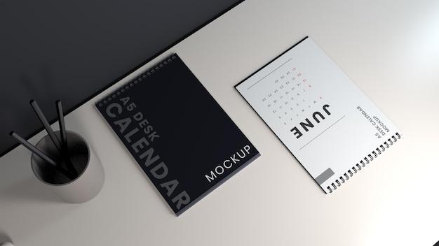 Modèle de conception de maquette de calendrier de bureau