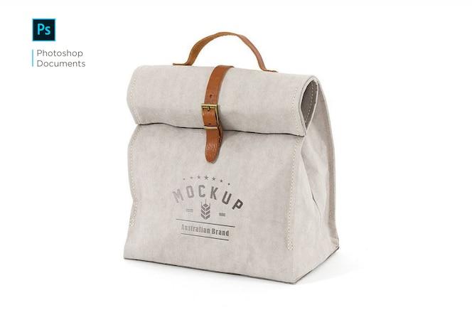 Modèle de conception de maquette de logo de sac à main en tissu
