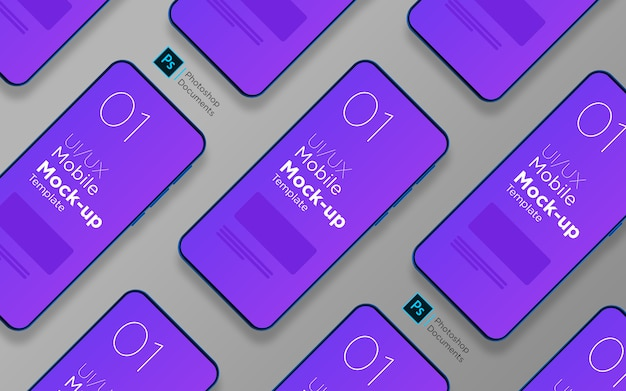 Modèle De Conception De Maquette Multi-écrans D'application Mobile PSD Premium