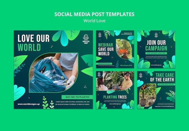 Modèle de conception de médias sociaux d'amour du monde