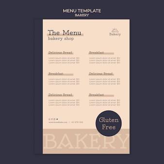 Modèle de conception de menu de boulangerie