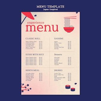 Modèle de conception de menu inspiré du japon