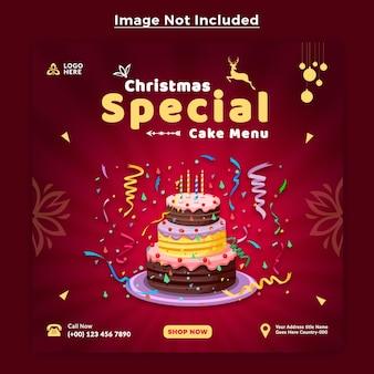 Modèle de conception de message de bannière de médias sociaux de joyeux noël gâteau