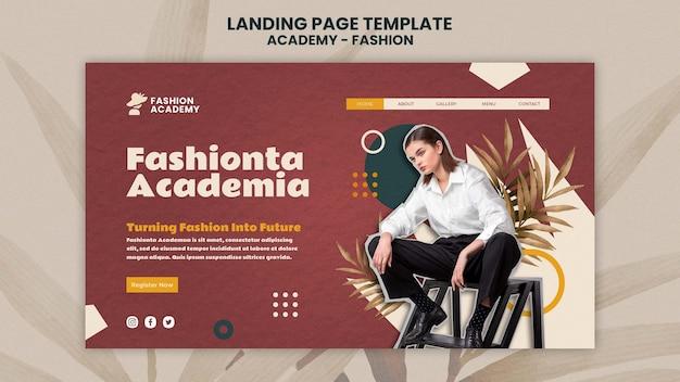 Modèle de conception de page de destination de l'académie de mode