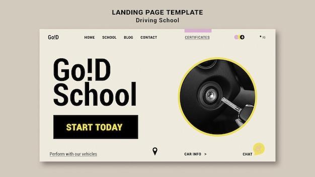 Modèle de conception de page de destination d'auto-école
