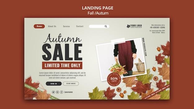 Modèle de conception de page de destination d'automne