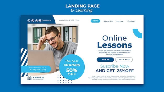Modèle de conception de page de destination e-learning