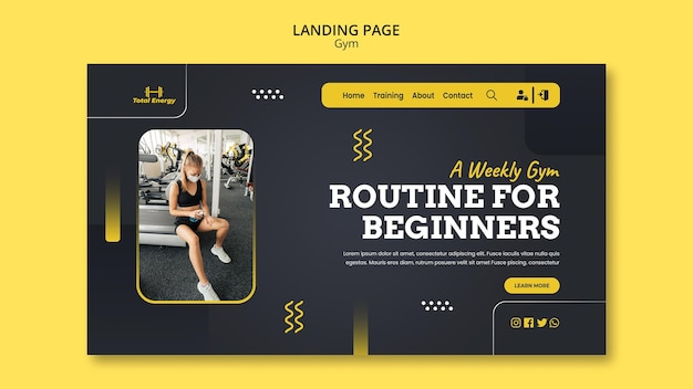 Modèle de conception de page de destination de gym