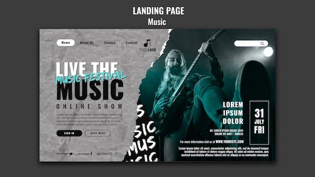 Modèle de conception de page de destination musicale