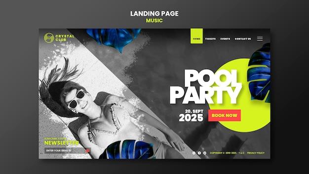 Modèle de conception de page de destination de musique de fête de piscine