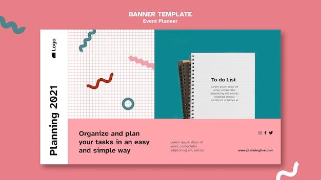 Modèle de conception de page de destination de planificateur d'événements